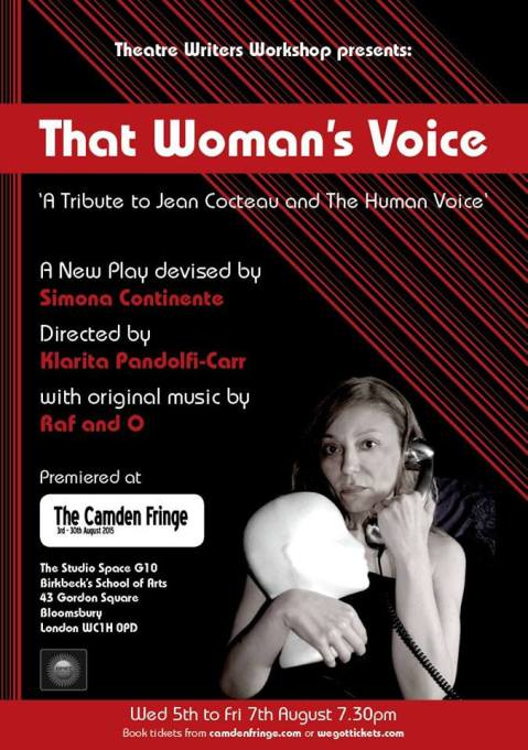 Raf and O blog - That Woman's Voice, Camden Fringe 2015