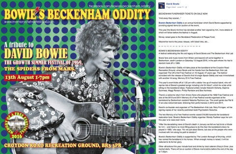 Raf and O - David Bowie Official, Bowie's Beckenham Oddity aka Memory Of A Free Festival